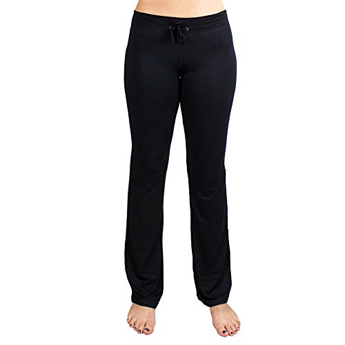 Crown Sporting Goods Soft and Comfy Yoga Pants - 95% Cotton/5% Spandex Blend, Black, Medium