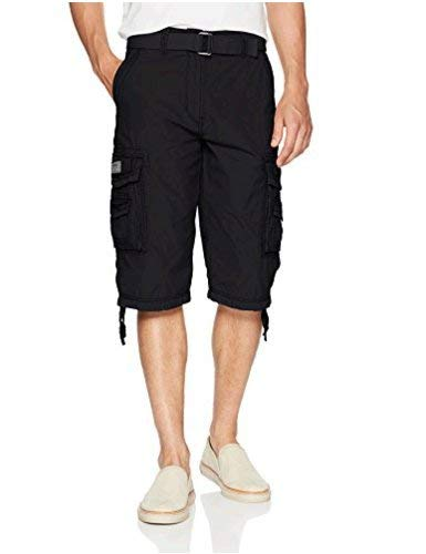 Unionbay Men's Cordova Belted Messenger Cargo Short - Reg and Big and Tall Sizes, black, 44