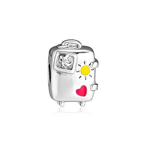 Pandora 925 Pendenti in argento sterling Fai da te Vacay Moda Valigia Charms Perline per creazione di gioielli Adatto per bracciale originale Regalo per ragazze da donna Kralen