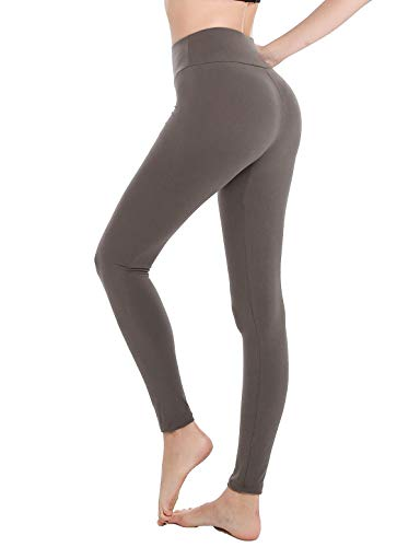 Finerease Soft & Stretchy High Waisted Leggings for Women,Tummy Control Opaque Yoga Pants Leggings (Grey, X-Large/XX-Large)