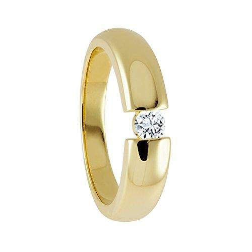 Diamond Line Damen Ring Solitaire 585 Gelbgold 1 Brillant 0.15 ct. getöntes Weiß Lupenrein, Gr. 60