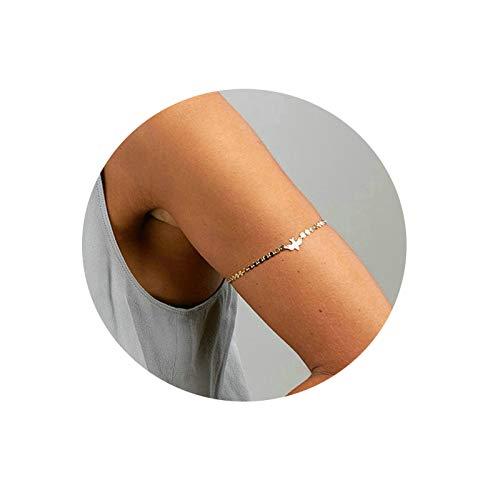 SonMo Armkette Damen Oberarm Armband Manschette Vergoldet Armkette Armband Armreif Taube Silber Armbänder 90Er Jahre