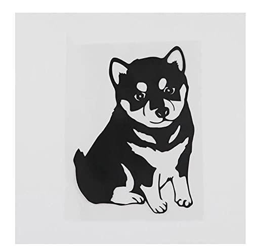 MDGCYDR Pegatinas Coche Perro 9,5 Cm X 13,1 Cm Encantador Perro Pequeño Husky Calcomanía Vinilo Coche Pegatina Negro/Plata