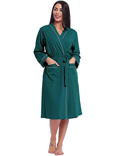 Cherrydew - Albornoz Largo de algodón Suave para Mujer - Verde - Large