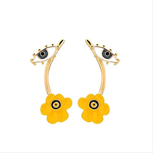 Pendientes de botón con dije de flor de mal de ojo, aleación de Color dorado, pequeños pendientes de ojo turco, joyería de moda para mujeres y niñas