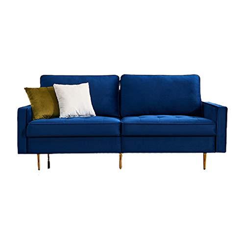 3-Sitzer Sofa,Modern Velvet Fabric Sofa,Holzgestell, Metallbeine, einfacher Aufbau Couch für Wohnzimmer,Schlafsessel Bettsofa 180Lx80Wx80H(cm) (Blue)