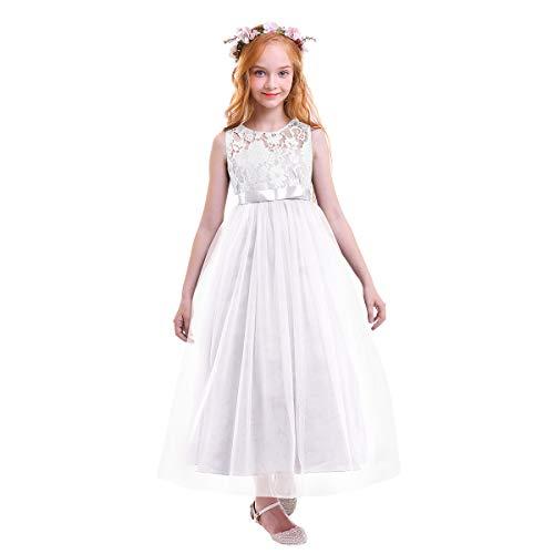 OBEEII Vestido Elegante de Niña Vestidos Floral Largos de Encaje Ropa Verano...