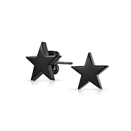 Simple Pendiente De Boton Estrella Celestial Patriótico Para Hombres Y Mujer En Negro Pulido De Acero Inoxidable 10Mm
