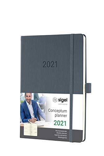 SIGEL C2166 Terminplaner Wochenkalender 2021, ca. A5, Hardcover, dunkelgrau, mit vielen Extras, Conceptum - weitere Modelle
