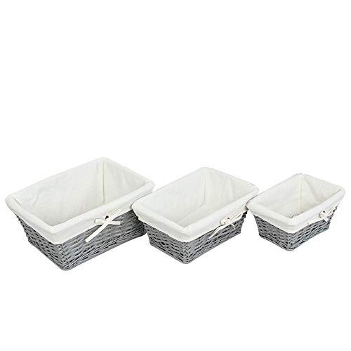 WM Homebase 3er Set Körbe Aufbewahrungskorb aus Weide handgeflochten Korb in Grau