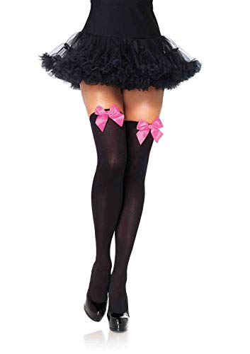 Leg Avenue Women's Satin Bow Accent Thigh Highs, Black/Neon Pink, One Size