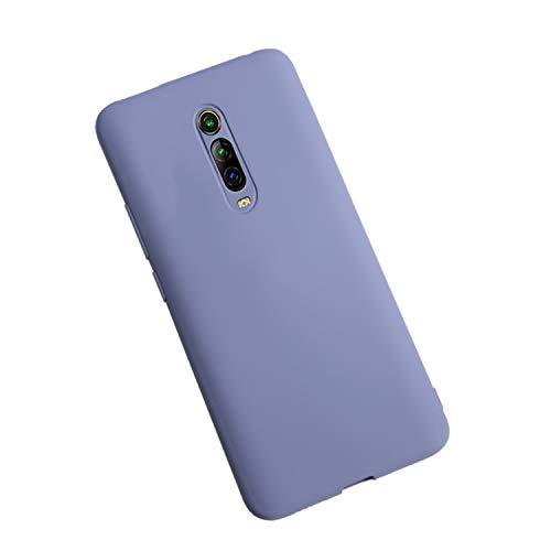 XunEda Cover for Xiaomi Mi 9T, Xiaomi Mi 9T PRO Case, Ultra Thin Liquid Silicone Case Protective Case Cover + Protective Film for Xiaomi Mi 9T, Mi 9T PRO Smartphone (Lavender Gray)