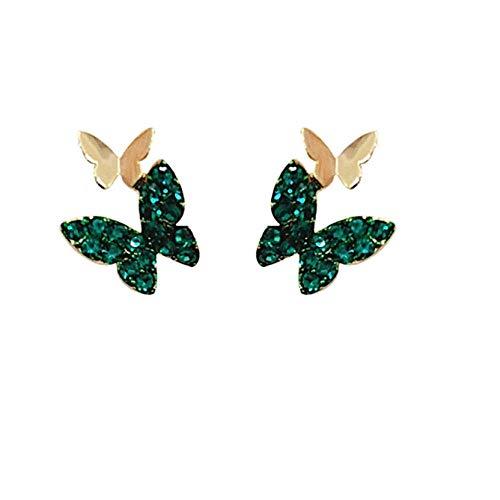 Vvff Pendientes De Botón De Mariposa De Diamantes De Imitación Verde Lindo Para Mujer Joyería Encantadora