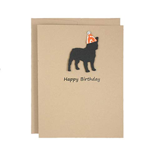 French Bulldog Birthday Card   Handmade Black Frenchie Birthday Greeting Card   Party Hat   Pet Birthday