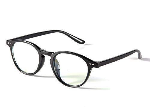 Effnny Bloqueo de luz azul Gafas anti fatiga filtro UV juegos de computadora monturas de gafas de lectura Para hombres mujeres 2318 (Bright black)