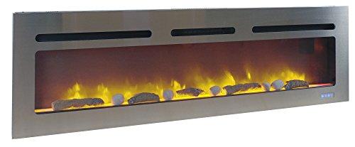 Efydis Brite Inox Caminetto elettrico grandi dimensioni con potenza 2000W effetto fiamma a led