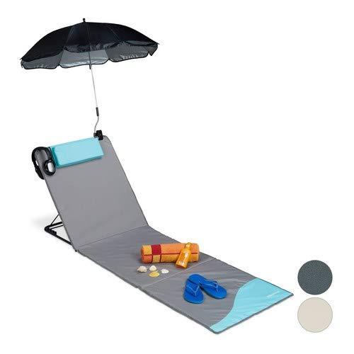 Relaxdays Strandmatte, gepolsterte Strandliege XXL mit Sonnenschirm, 3-stufig verstellbar, Kopfkissen, tragbar, grau