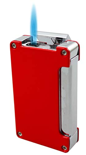 Visol Zidane Wind-Resistant Butane Torch Flame Lighter with Built-in Cigar Punch (Red)
