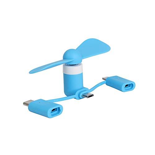 Portable 3 in 1 Mini-USB-Ventilator-Handy-Fan Leistungsstarke Mini-handgriffe Lüfter Kompatibel Für Android iPhone Blau 1pc