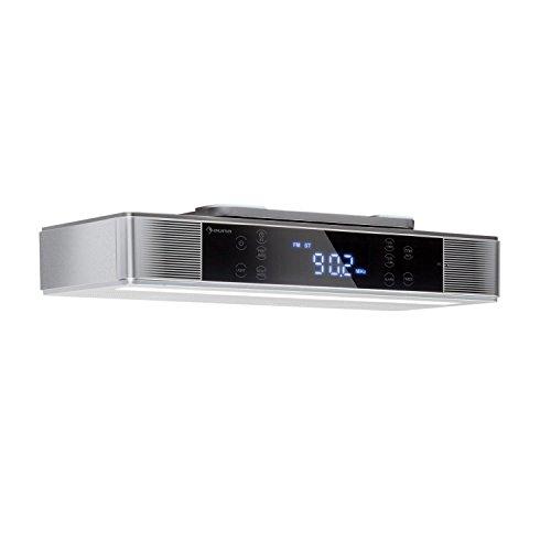 auna KR-140 - Küchenradio, Unterbau Radio, UKW-PLL-Radiotuner, 4.1 Bluetooth, 40 Senderspeicherplätze, LED-Arbeitsflächen-Beleuchtung, wasserabweisendes Touch-Display, Dual-Alarm, Silber