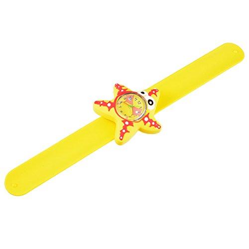 Souarts Kinderuhr Jungen Armband Uhr Seestern Kinder Armbanduhr Sportuhr Gelb