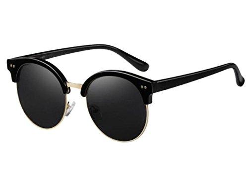 SONNENBRILLEN Sonnenbrillen Neue Lady Fashion Retro Sonnenbrille Bias Helle Farbe Gläser, B Black Box/Reflektierenden Folie