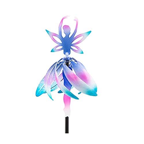 huiouer Estaca giratoria de viento de metal para molino de viento con forma de bailarina de hadas, decoración de jardín y patio
