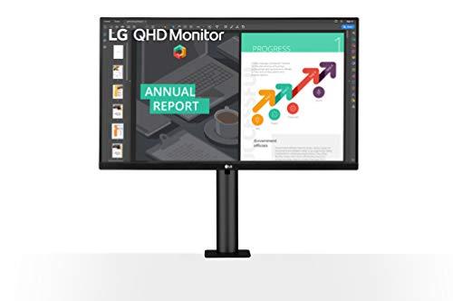 LG Electronics 27QN880-B.AEU 68,58 cm (27 Zoll) QHD Ergo Monitor (AMD Radeon FreeSync, HDR 10, hohe Ergonomie, Flicker Safe), Dunkelanthrazit