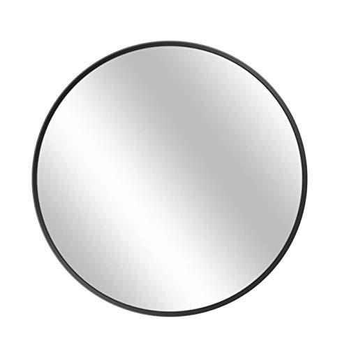 Espejo de Pared de 70cm, Espejo Redondo Grande Premium Marco de Metal Negro Cepillado Moderno Espejo Colgante de Maquillaje para decoración del hogar, tocador, baño, Sala de Estar, Dormitorio