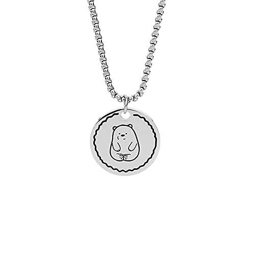 Sxcespp Collar con colgante redondo para hombres y mujeres, antialérgico, sin decoloración, accesorios de ropa larga, colgante de joyería de oso de acero de titanio salvaje creativo, regalo sorpresa p