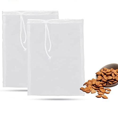 Bolsas de cerveza reutilizables, 2 bolsas de malla fina blanca para el hogar, elaboración de lúpulo, cereales, leche de soja, jugo de manzana y vino de cerveza (15 x 20 cm, 100 malla, 150 micrones)