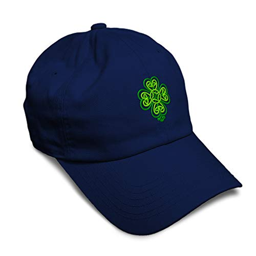 Speedy Pros Soft Baseball Cap Celtic Shamrock Symbol Embroidery Holidays and Occasions St Patrick's Day Twill Cotton Dad Hats for Men & Women Buckle Closure Navy Design Only