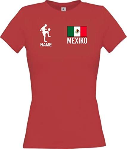 Shirtstown - Camiseta de fútbol para mujer, diseño de México con nombre personalizado rojo S