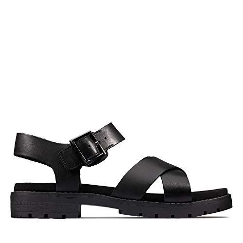 Clarks Damen Orinoco Strap Slingback Sandalen, Schwarz (Black Leather Black Leather), 38 EU