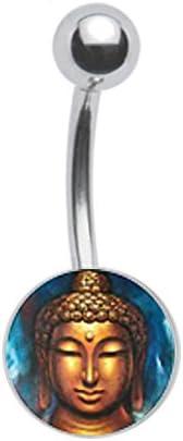 Buddha Peaceful Budha Belly Button Navel Ring Piercing bar Body Jewelry 14g