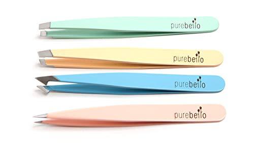 Elegantes Pinzetten Set – 4-teilig - 100% rostfreies Edelstahl – mit Kosmetiktäschchen ß 5 Jahre Garantie – Purebello Qualitätsprodukt