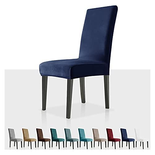 MAXIJIN Fundas elásticas de Terciopelo para sillas de Comedor, Juego de 4 Fundas deslizantes para sillas de Comedor, para Comedor, Cocina, Ceremonia (Azul Marino, 4)