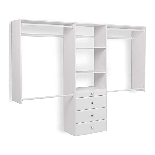 Easy Track OK7272 Deluxe Tower Closet Storage Wall Mounted Wardrobe Organizer Kit System with Shelves and Drawers for Bedroom with Hardware, White