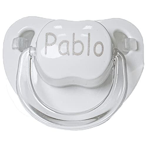 BebeDeParis |Chupete Personalizado con Nombre Del Bebé, Tetina de Silicona, Chupete en color Blanco Recomendado Para Bebés a Partir de 6 meses