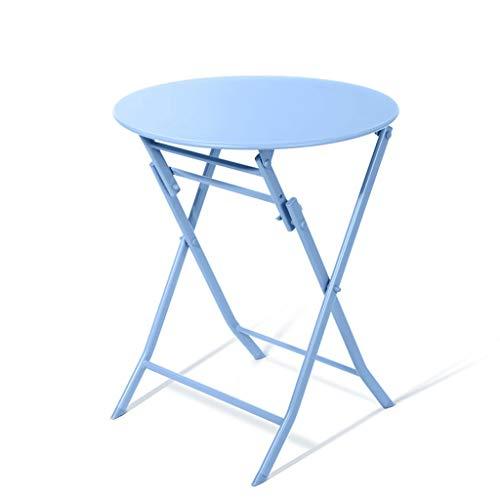 YShop Grande Table Basse de Patio en Acier for Patio, Table d'appoint for extérieur résistant aux intempéries, Table de Salle à Manger Ronde, Bureau intérieur (Color : Blue)
