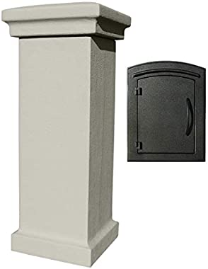 Qualarc MAN-S-STUCOL-1400-GY Manchester Stucco Column with Locking Drop Chute Mailbox in Slate Gray Color with Plain Door