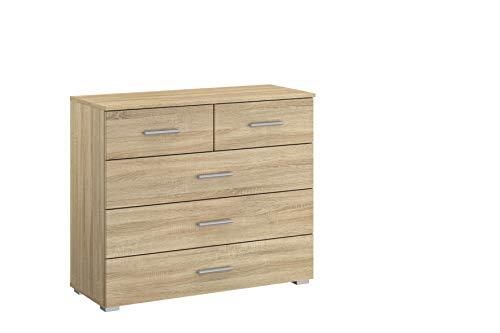 Rauch Möbel Flexx Schlafzimmer Kommode,  Kommode inklusive 5 Schubladen in Eiche Sonoma, BxHxT 93 x 81 x 42 cm
