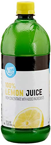 Amazon Brand - Happy Belly 100% Lemon Juice From Concentrate, 32 Ounce