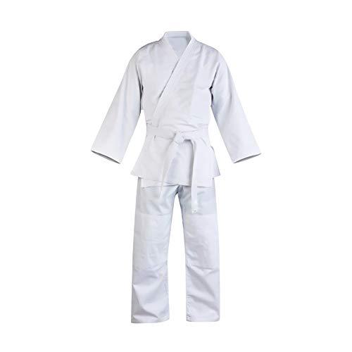 Daytwork Unisex Dobok Karate Anzug Kampfsport Taekwondo Uniform - Kinder Erwachsener Kung Fu Trainingskleidung GI Judo Aikido Sets mit Gürtel Weiß Polyester Baumwolle Langarm