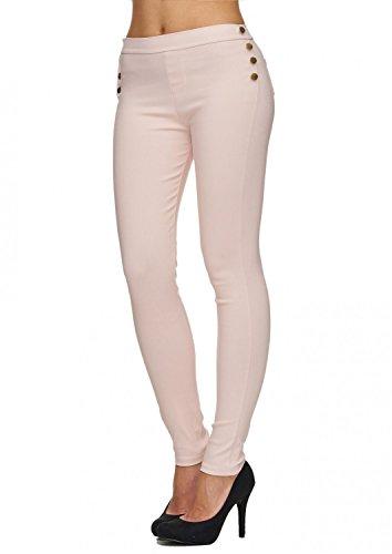EGOMAXX Damen Treggings Stretch Röhre Leggings Hoher Bund Clean, Farben:Pink, Größe:L/XL