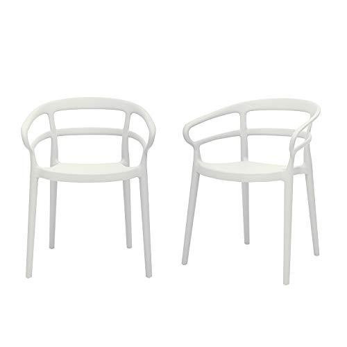 Amazon Basics White, Curved Back Dining Chair-Set of 2, Premium Plastic