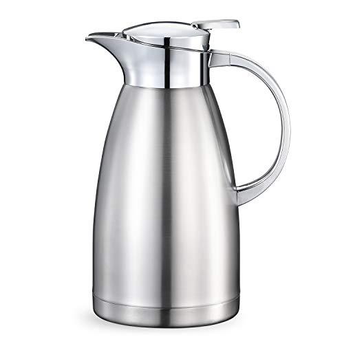 Haosens 1,8 Liter Edelstahl Isolierkanne kaffeekanne Haushalt thermosflasche Europäischen Stil thermosflasche - Heiß und kalt dual Gebrauch (Silber)