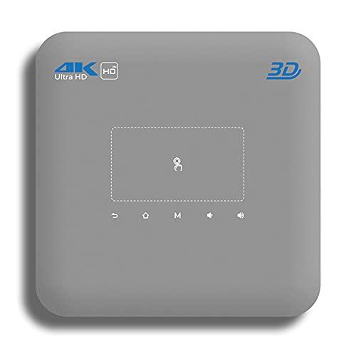 LFJG Nuevo Mini Proyector Inteligente, Cine En Casa 3D, Entrada HDMI, Soporte para Teléfono Móvil con La Misma Frecuencia, HD IN, Decodificación De Video 4K, Corrección Trapezoidal,Gris