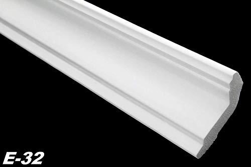 Zierleisten Sparpaket E-32-NK | inkl. vorgefertigte Ecken | leicht und stabil | extrudiertes Styropor | Stuckprofile | modern weiß | dekorativ | XPS | 28 x 51 mm | 20 Meter + 4 Ecken