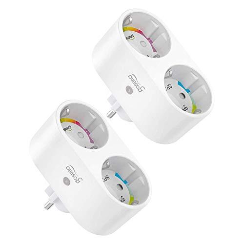 Gosund Doppelstecker für Steckdose, Alexa Steckdosen Plug Smart Wlan Stecker Smart Home Plugs Funktionieren mit Alexa, Google Home, Stromverbrauch Messen Fernbedienung, Timer, 2,4 GHz(2er pack)